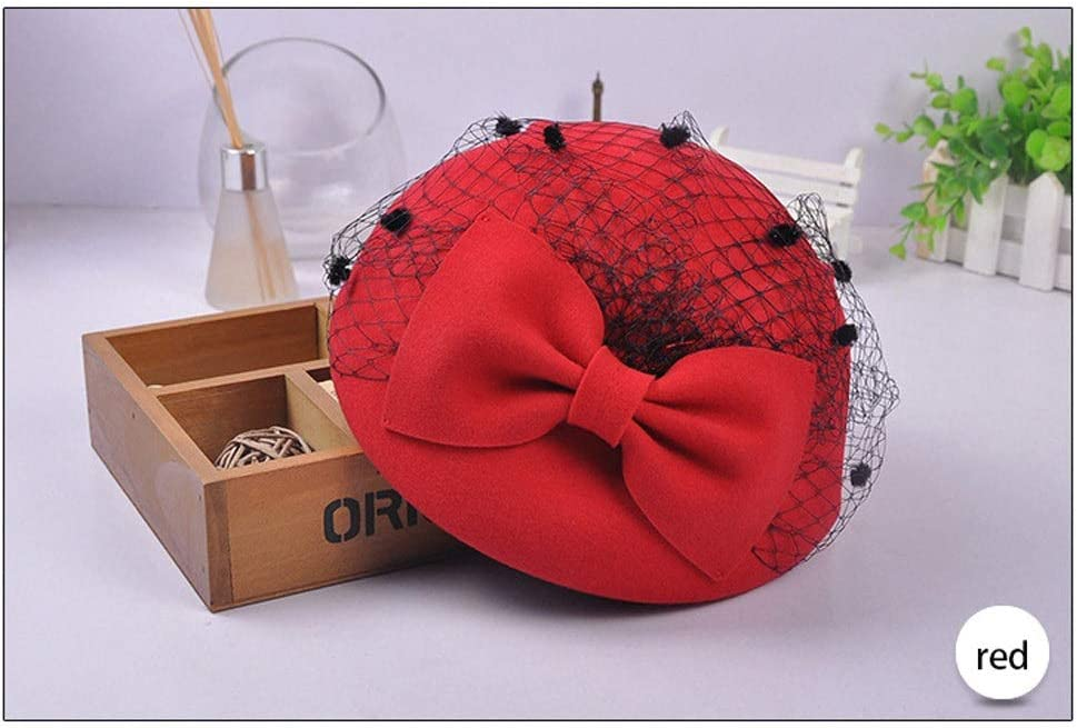 TWDYC Solid Wool Felt Hat Hats Vintage Bow Veil Party Hat Women Ladies for Daily Wedding Race (Color : C)