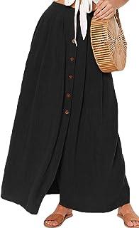 HOTAPEI Womens Casual High Waist Flared A-line Pleated Solid Button Maxi Long Skirt Dress