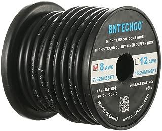 BNTECHGO 8ゲージのシリコーンワイヤー 8AWGシリコーン細線 シリコーンケーブル線 フレキシブル 超柔軟性 強い耐久性 長さ7.7メートル 断熱範囲温度: - 60 °C + 200 °C 600ボルト 1650本 錫めっき銅線 シリコーンゴム電線 ブラック(黒) 自動車用 RCモデル用等