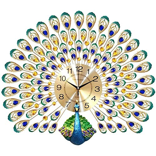 BHHT Creative Peacock Wall Clock, For Living Room Modern Silent Peacock Crystal Wall Clock Home Decoration Living Room Clock