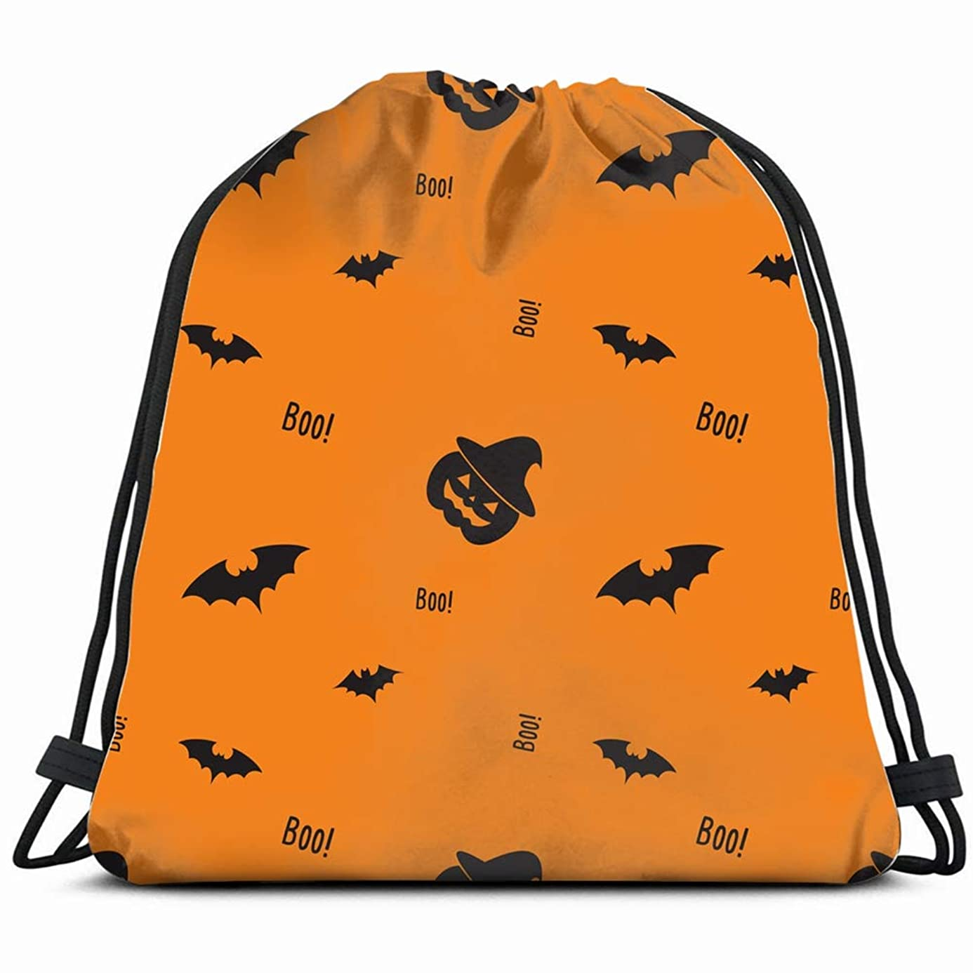 happy halloween pumpkin bat witch holidays Drawstring Backpack Gym Sack Lightweight Bag Water Resistant Gym Backpack for Women&Men for Sports,Travelling,Hiking,Camping,Shopping Yoga