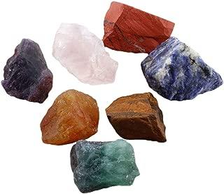 SUNYIK 7 Chakra Stones Set, Natural Rough Raw Stone for Tumbling,Cabbing,Crystal Healing Kits