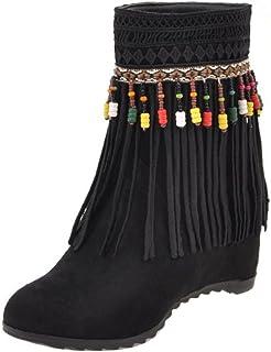 [KemeKiss] レディース ファッション ショートブーツ インヒール フリンジ ブーツ 多色