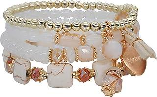 VONRU Boho Bead Stackable Bracelets for Women - Vintage Multi Layer Colorful Beads Bracelets Bohemian Anklets Charm Births...