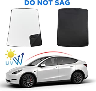 Carwiner Glass Roof Sunshade for Tesla Model Y with Heat Insulation Cover Accessories 2020 2021(2 of Set) (Black)