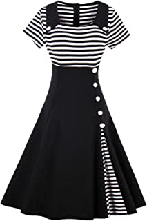 ROSE IN THE BOX Women's 1950s Summer Sailor Collar Cocktail Party Swing Dresses