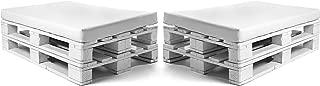 SUENOSZZZ-ESPECIALISTAS DEL DESCANSO Pack de 2 colchonetas para Sofas de Palet. Cojines Rellenos con Espuma. Color Blanco | Cojines para Chill out, Interior y Exterior, Jardin | No Incluye Palet