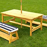 KidKraft Outdoor Table and Bench Set with Cushions and Umbrella, Kids Backyard Furniture, Navy and White Striped Fabric ,Gift for Ages 3-8