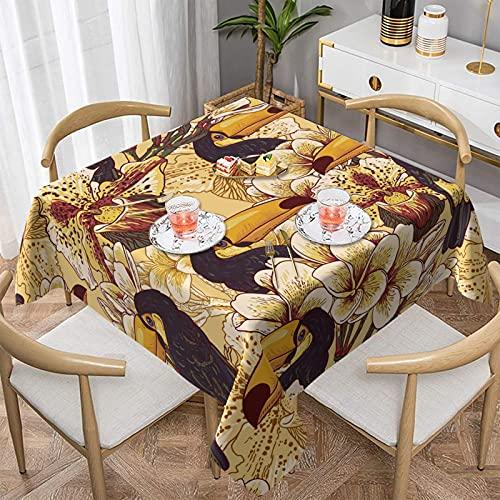 Tropic Toucan - Mantel rectangular impermeable para mesa, protector de mesa, para comedor, fiesta, cocina, picnic, interior y exterior, 156 x 152 cm