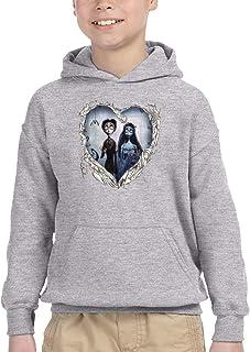ちひろ ティム?バートンのコープスブライド Tim Burton's Corpse Bride 5 子供 若者 流行 スウェットシャツ フード付き パーカー 自転車 Black