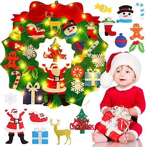 UMYMAYDO1 Ghirlanda di Natale in feltro,con 25 fai da te decorazioni natalizie staccabili, per piatto da appendere decorare la porta la finestra la parete decorazione come regalo di Natale perbambini