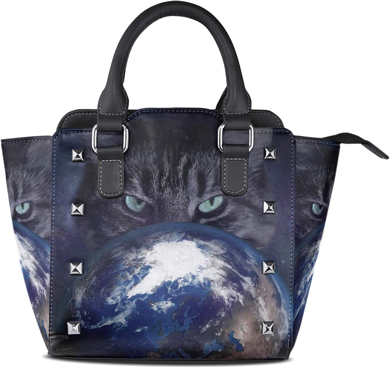 Leather Galaxy Earth Cat Rivet Handbags Tote Bag Shoulder Satchel for Women Girls
