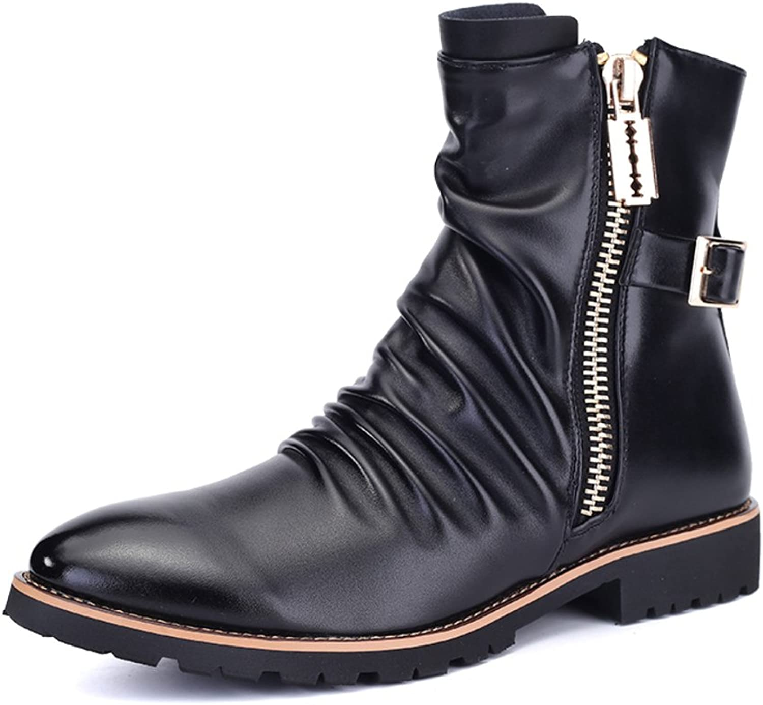 WLJSLLZYQ Men's Boots in Winter Martin Boots Fashion shoes Men's Short Boots Leather Boot Cotton shoes Motorcycle Boots
