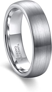 6mm Tungsten Wedding Rings for Men Women Silver/Black/Blue/Rose Gold Color Comfort Fit Size 4-15