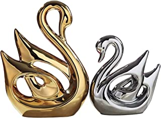 TDRFORCE Swan Lovers Figurines Porcelain Sculptures Statues (Set of 2),Electroplating Polished Ceramic Decoration Animals Crafts Ornaments Home Decor(Swan Lover-Gold(Large) Silver(Small))