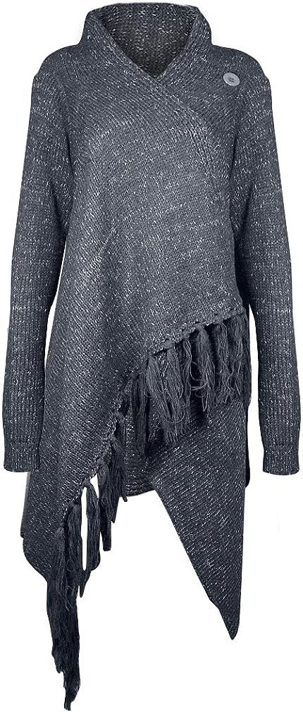 AIYUE Mantel Damen Poncho Cape mit Rollkragen Pullover unregelmäßig Stricken Pullover Sweater Top Winter Strickpullover Gestrickt Umhang Dunkelgrau