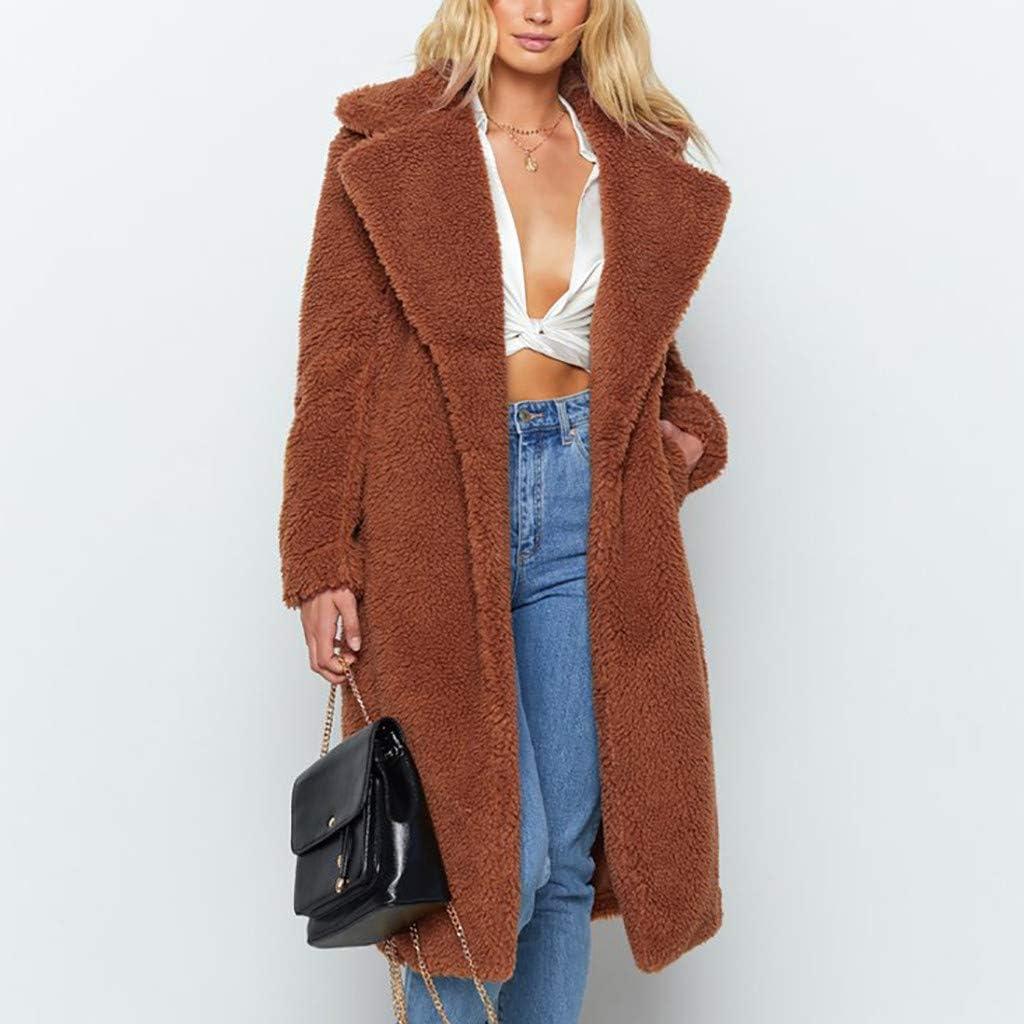 UOFOCO Jackets for Women Ladies Winter Solid Warm Faux Fur Coat Long Parka Outerwear