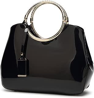 Charm Glossy Metal Grip Structured Shoulder Handbag Women Satchel