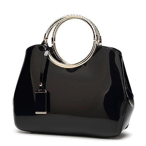33f768b01 Hoxis Charm Glossy Metal Grip Structured Shoulder Handbag Women Satchel