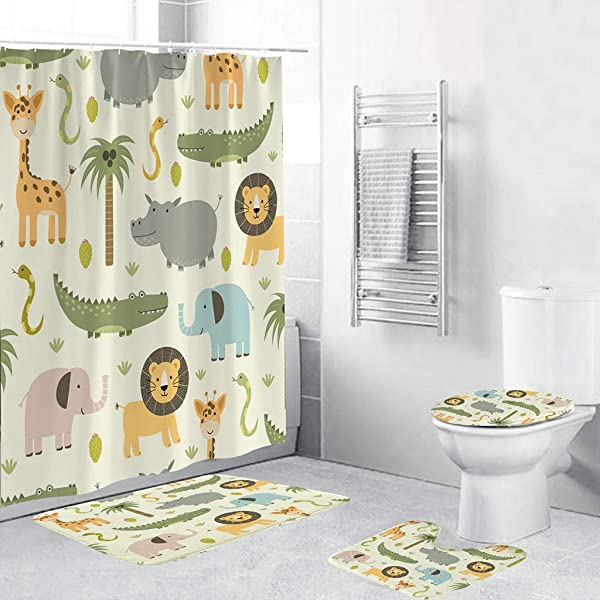 Onegirl Bath Curtains And Mats Set Of 4 Cute Animal Print Shower Curtain Bath Mat 4 Pieces Bathroom Non Slip Mats Toilet Pad Cover Absorbent Rugs With Hooks
