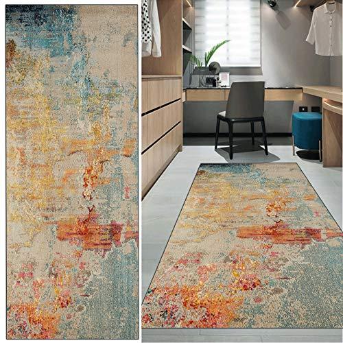 FKYUH Teppich Läufer Flur rutschfest Moderner Abstrakter bunter Stil Print Terrassen Teppich waschbar Anpassbare Größe