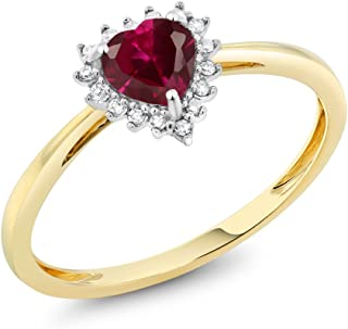 Gem Stone King 10K 2-Tone Gold Red Created Ruby and Diamond Heart Shape Women's Ring (0.60 Cttw 5MM, Available 5,6,7,8,9)