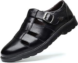 Zapatos casuales Sandalias de moda transpirables para hombres Lug Lug Sole Sole Monk Correa de Cuero Suave Casual Zapatos ...