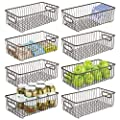 mDesign Metal Kitchen Pantry Food Storage Basket Bin, Long, 8 Pack by