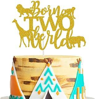 Born Two Be Wild Cake Topper Jungle Second Birthday Cake Decor Born to be Wild/Boho Tribal/Safari/Two Wild Themed 2nd Birt...
