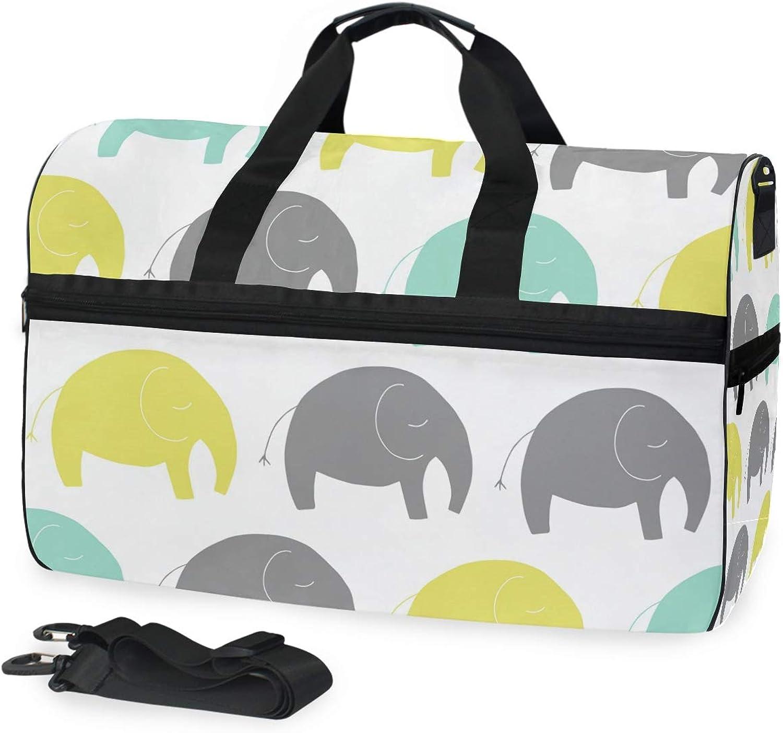 FANTAZIO Cartoon Elephones Sports Bag Packable Travel Duffle Bag, Lightweight Water Resistant Tear Resistant