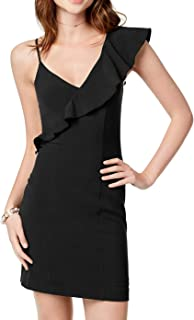 Women's Junior Ruffled Asymmetric Sleeveless Mini Dress