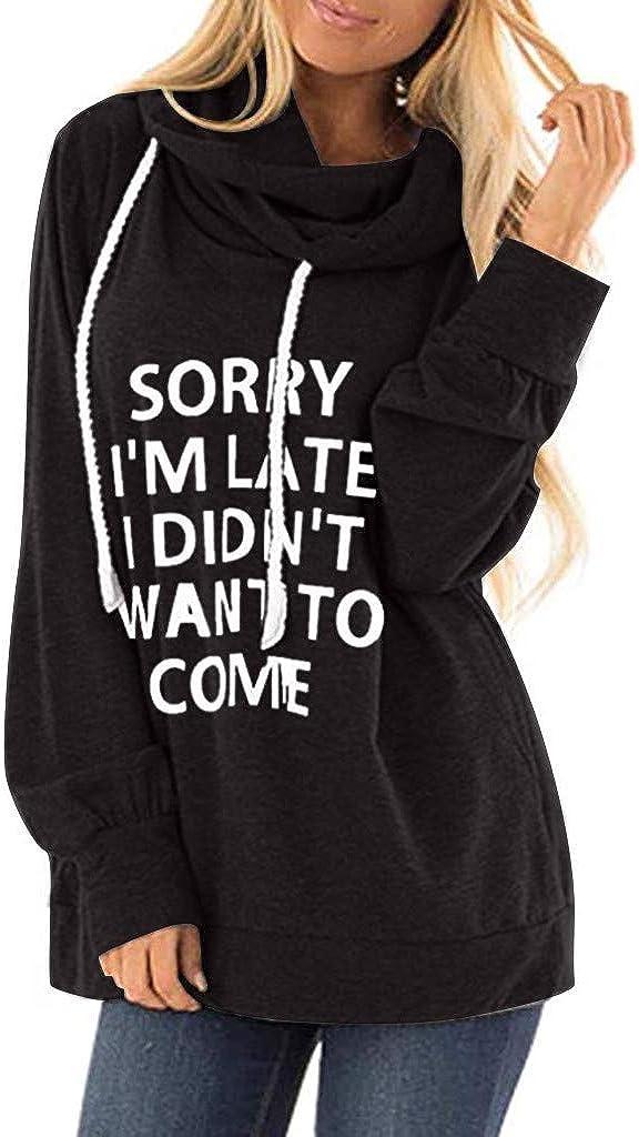 POTO Women Pullover Tops,Women's Casual High Neck Hooded Letter Print Long Sleeve Crop Top Sweatshirts Hoodies