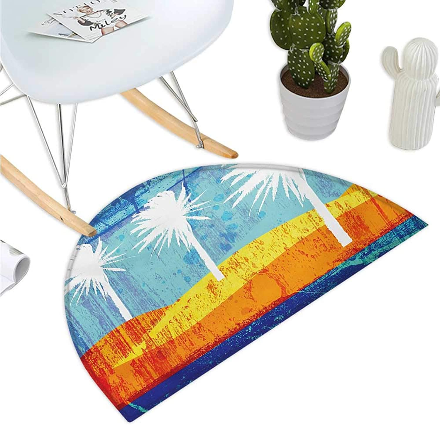 Burnt orange Semicircle Doormat Contemporary Motley Stained Distressed Tropic Beach with Palms Graphic Entry Door Mat H 43.3  xD 64.9  orange bluee White