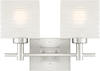 Westinghouse Lighting 6303900 Alexander Two-Light Indoor Wall Fixture, Brushed Nickel Finish with Rippled White Glazed Glass,