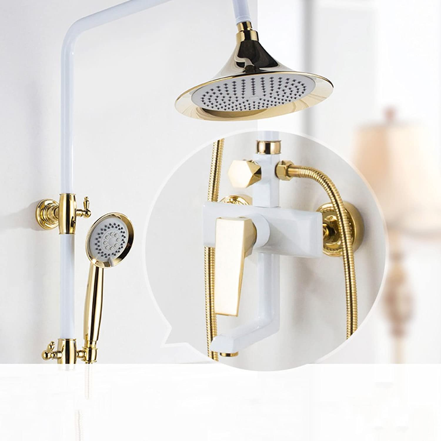 Cqq Bathroom shower Full copper white hot and cold shower Device American style shower set Shower mixing valve Faucet shower Device