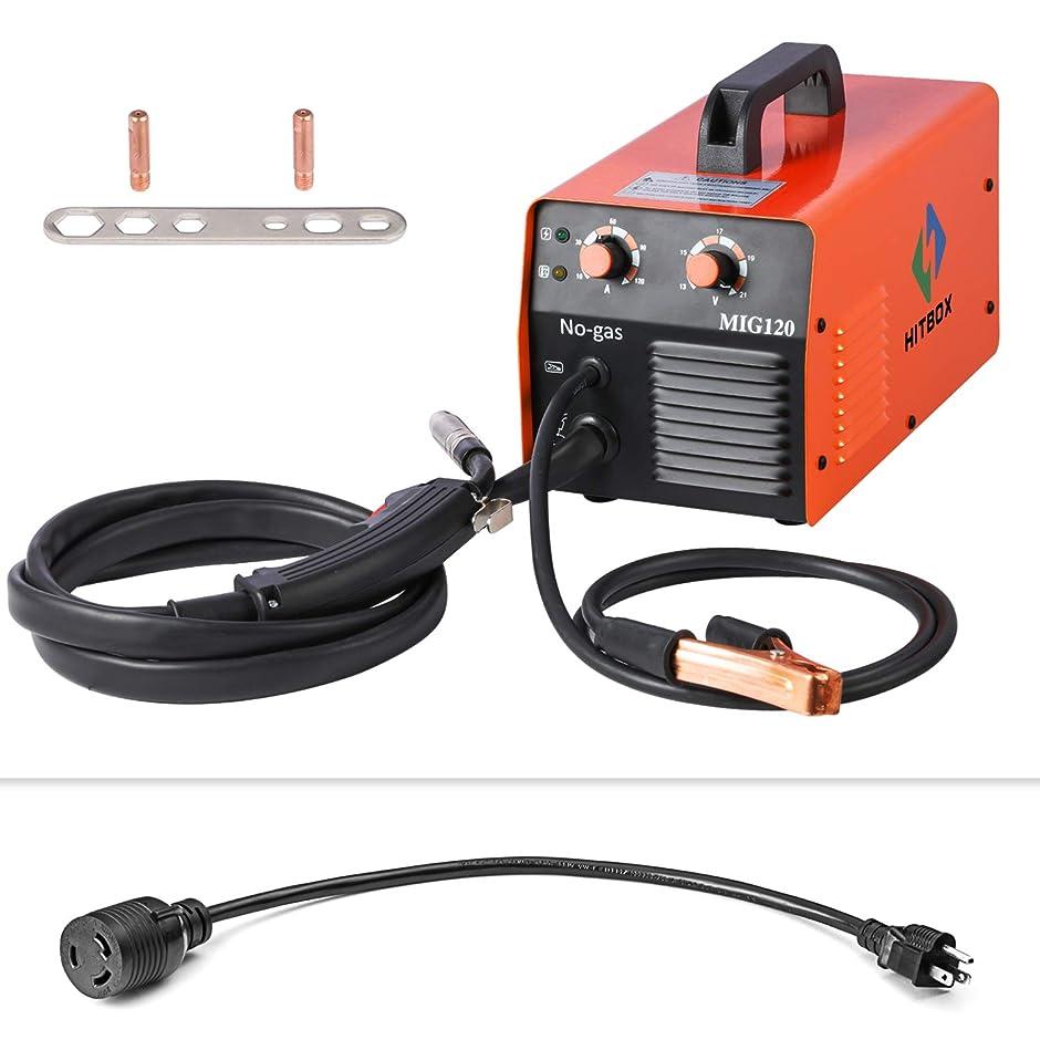 ピンポイント名誉ある等HITBOX MIG溶接機120A 110 / 220V DCミニ0.8ミリメートルフラックスコアガスレス溶接溶接機とインバータ40%のデューティサイクルMIGトーチアースクランプ