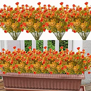 20 Bundles Artificial Flowers for Outdoor Decoration, UV Resistant Faux Outdoor Plastic Greenery Shrubs Plants Artificial Fake Flowers Hanging Planter Kitchen Home Office Garden Decor (Dark Orange)