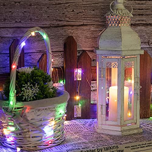4 pezzi Led Stringa Luci a Batteria, 5 Metri Catene Luminose 50 LEDs Luci Natalizie Batteria, Esterno/Interni, ghirlanda Lucine Decorative (colorato)