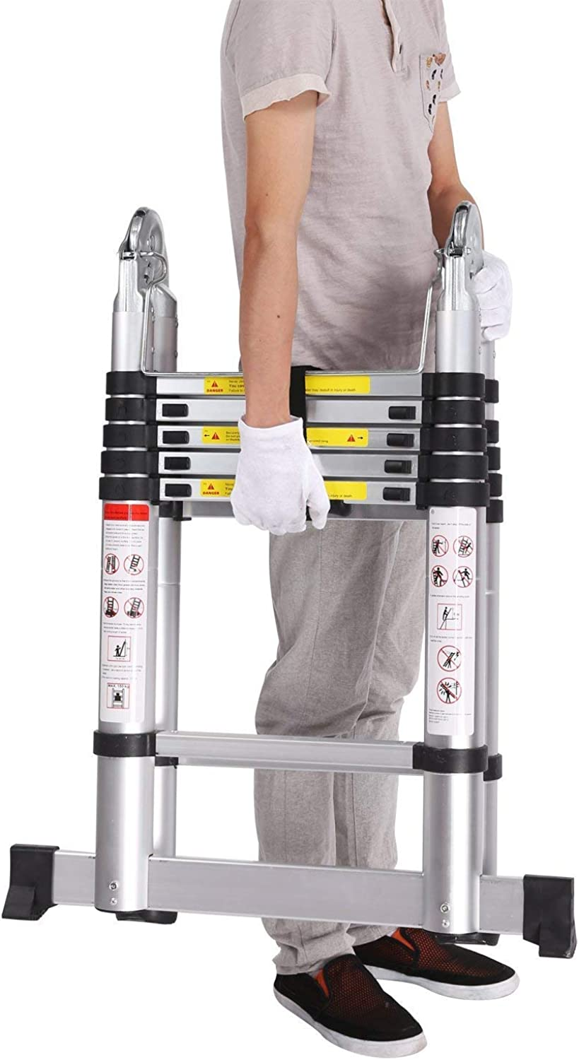 Folding Ladder Ladder Telescopic Ladder Multipurpose Ladder Ladder Telescopic Folding 150 kg Aluminum Telescopic Design (with Slideon Rubber and Steel Locking pins) (3.8M Folding Ladder)