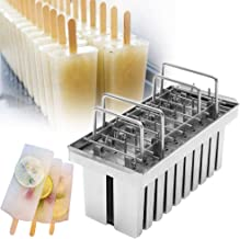 ZXMOTO 20pcs 105ml Per Mold Industrial Stainless Steel Ice Lolly Popsicle Molds Commercial Popsicle Mold Ice Cream Stick H...