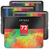 ARTEZA Colored Pencils, Professional Set of 72 Colors, Soft Wax-Based Cores,...