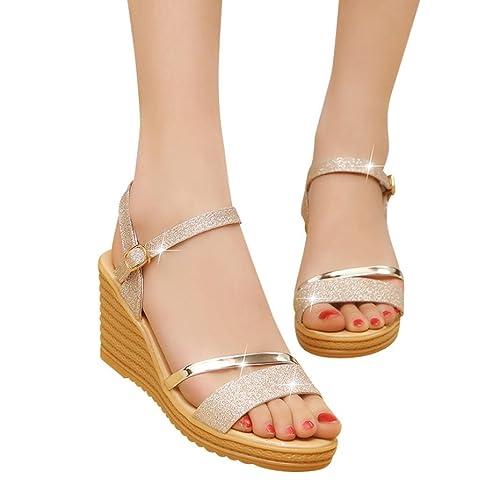 2a695ad22129ed Sandalen Damen Kolylong® Frauen Elegant Pailletten Sandalen mit Keilabsatz  Plateau Wedge Peep Toe Knöchel Schnalle