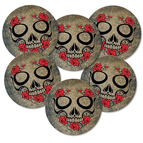 Addies Lot de 6 dessous-de-verre ronds Motif tête de mort avec coffret cadeau transparent et dos en liège Rose