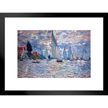 Poster Foundry Claude Monet Regattas at Argenteuil 1872 French Impressionist Matted Framed Wall Art Print 20x26 inch 260648