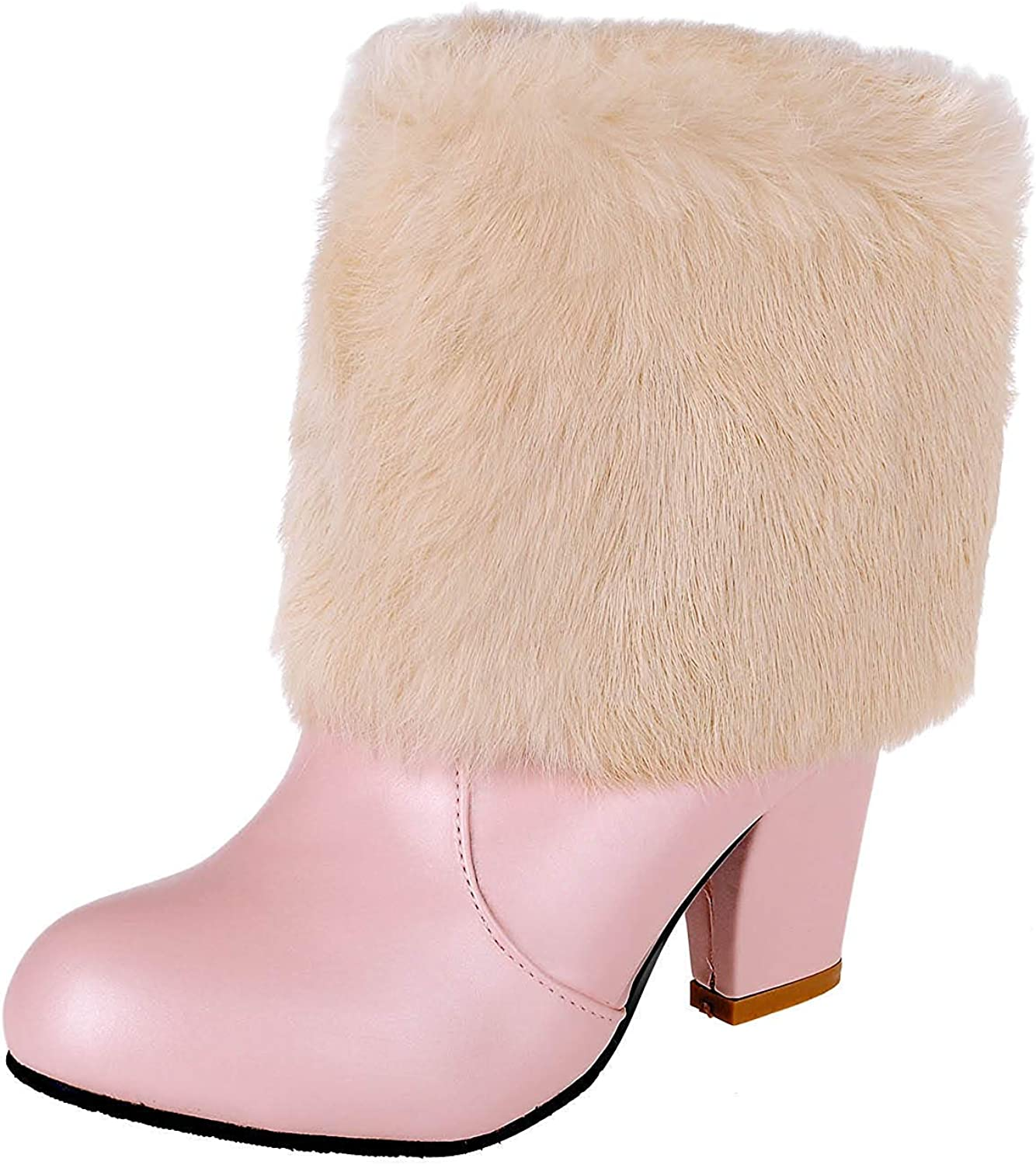 Unm Women's Cute Faux Furry Pull On Round Toe Short Boots Chunky High Heel Dress Ankle Booties
