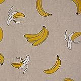 Dekostoff Halbpanama Leinenlook Bananen natur gelb 1,40m