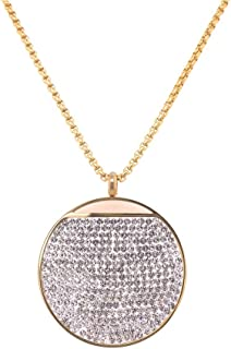 Bevilles Yellow Stainless Steel Pave Crystal Disc Necklace Pendant