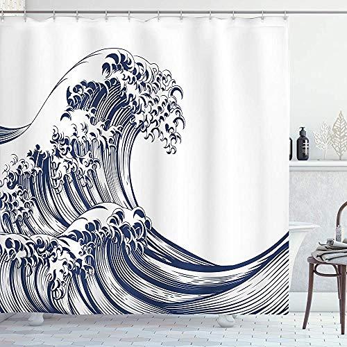 ASDAH Japanse Wave Douche Gordijn Oosterse Vintage Wave Monochroom Kanagawa Geïnspireerd Antieke Art Doek Stof Badkamer Decor Set met Haken Navy Blauw 66 * 72in