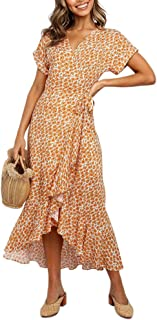 Imysty Womens Boho Floral Printed V Neck Wrap Dresses Short Sleeve Casual Beach Maxi Long Dress