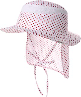 Jeff & Aimy UPF 50 Kids Cotton Bucket Sun Hat with Neck Flap for Girls Boys Summer Beach Hat Adjustable Chin Strap Aged 2-6